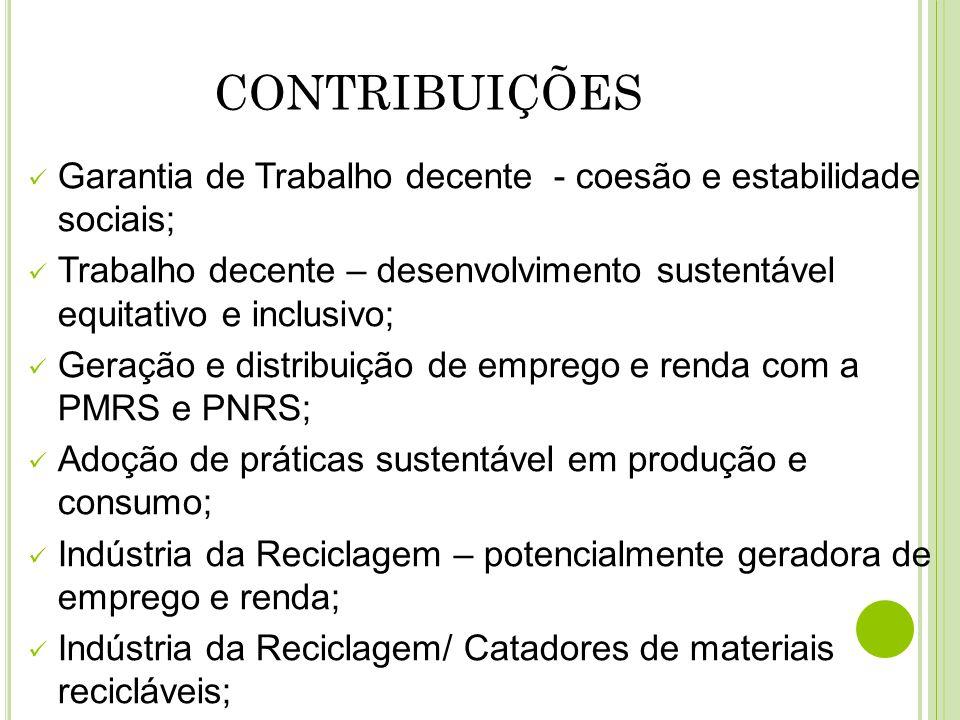 Garantia de Trabalho decente - coesão e estabilidade sociais; Trabalho decente – desenvolvimento sustentável equitativo e inclusivo; Geração e distrib