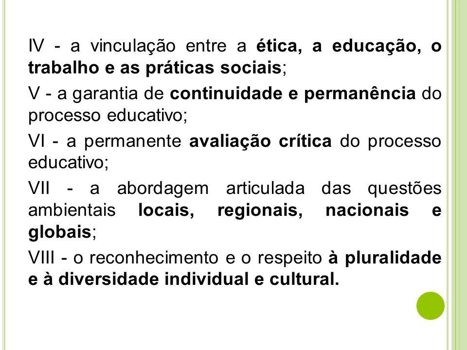 IV - a vinculação entre a ética, a educação, o trabalho e as práticas sociais; V - a garantia de continuidade e permanência do processo educativo; VI