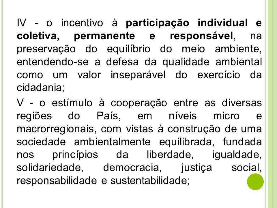 IV - o incentivo à participação individual e coletiva, permanente e responsável, na preservação do equilíbrio do meio ambiente, entendendo-se a defesa