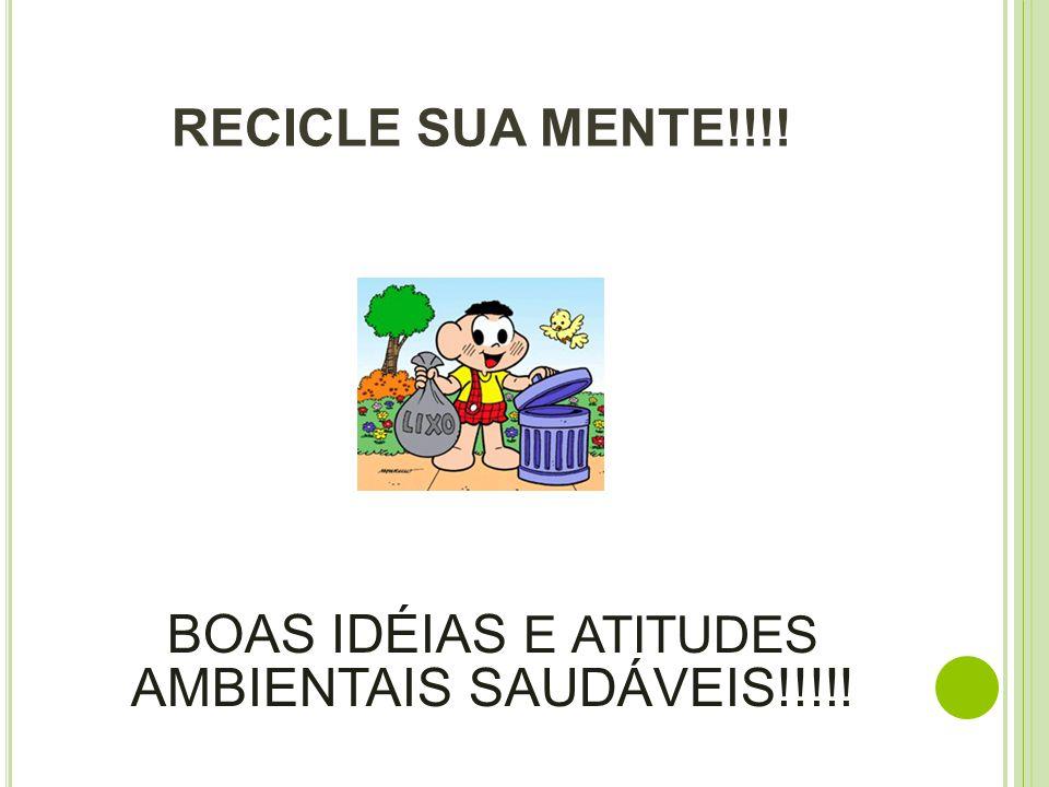RECICLE SUA MENTE!!!! BOAS IDÉIAS E ATITUDES AMBIENTAIS SAUDÁVEIS!!!!!