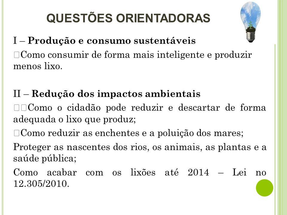 QUESTÕES ORIENTADORAS I – Produção e consumo sustentáveis ŸComo consumir de forma mais inteligente e produzir menos lixo. II – Redução dos impactos am
