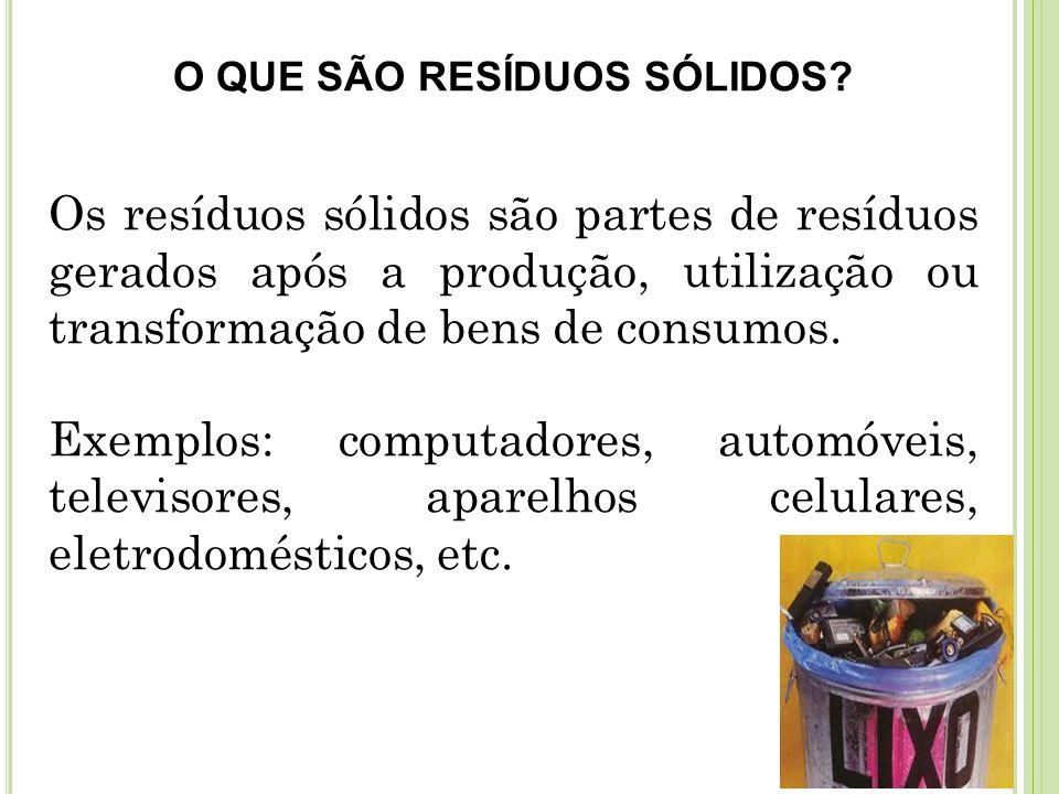 Resíduos sólidos perigosos Exemplos: pilhas e baterias de celulares que são formadas por compostos químicos com alta capacidade de poluição e toxidades para o solo e água.