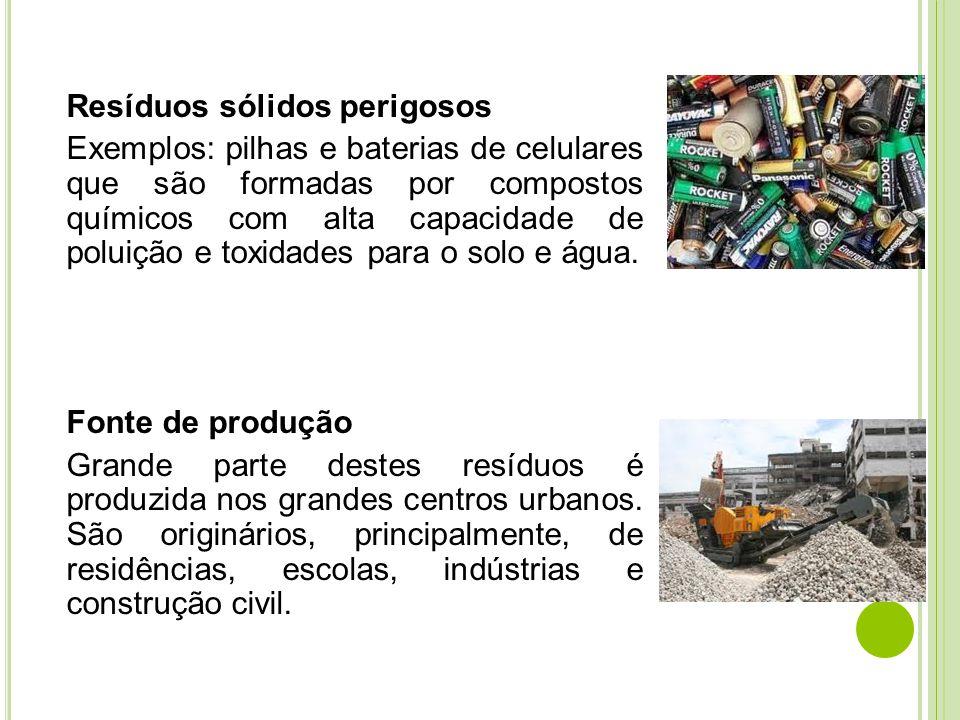 Resíduos sólidos perigosos Exemplos: pilhas e baterias de celulares que são formadas por compostos químicos com alta capacidade de poluição e toxidade