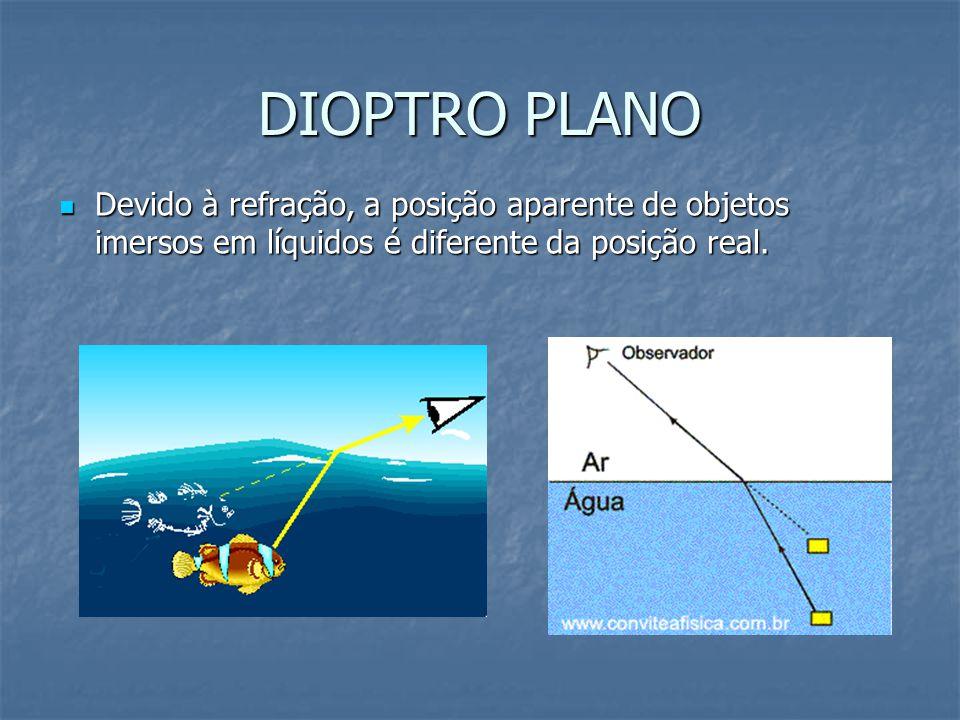 DIOPTRO PLANO Devido à refração, a posição aparente de objetos imersos em líquidos é diferente da posição real. Devido à refração, a posição aparente