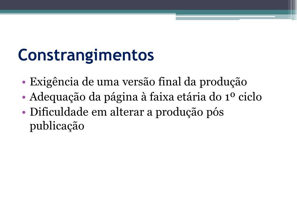 Constrangimentos Exigência de uma versão final da produção Adequação da página à faixa etária do 1º ciclo Dificuldade em alterar a produção pós publicação