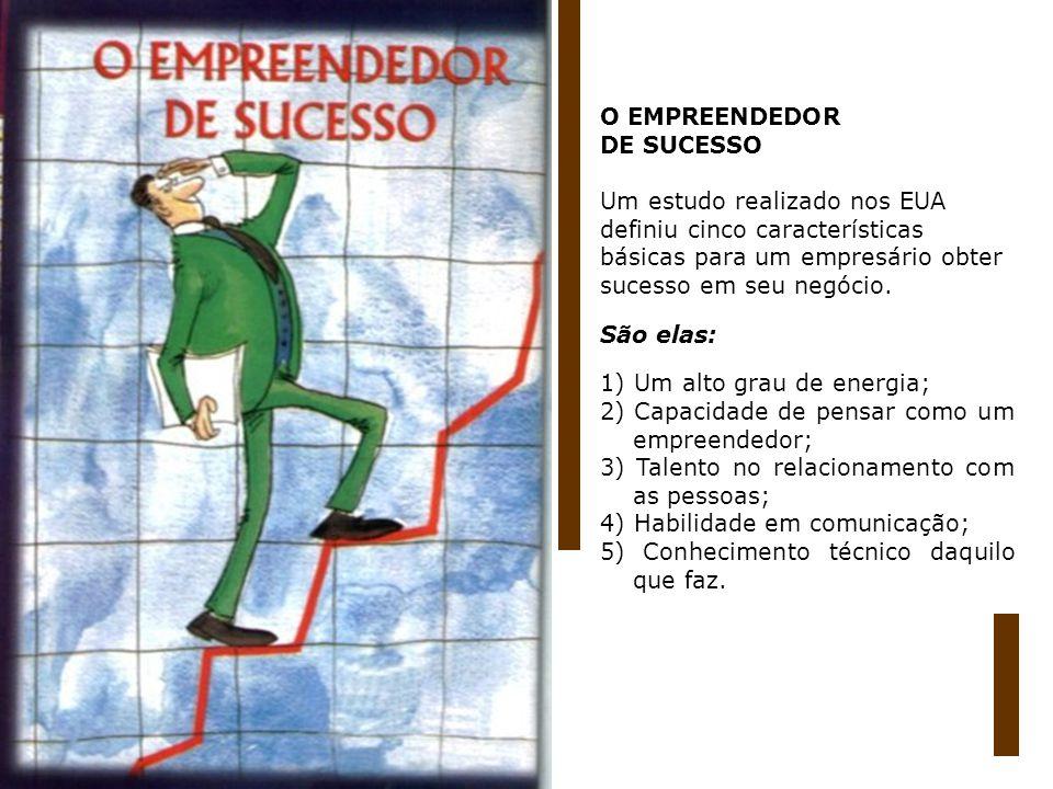O EMPREENDEDOR DE SUCESSO Um estudo realizado nos EUA definiu cinco características básicas para um empresário obter sucesso em seu negócio. São elas:
