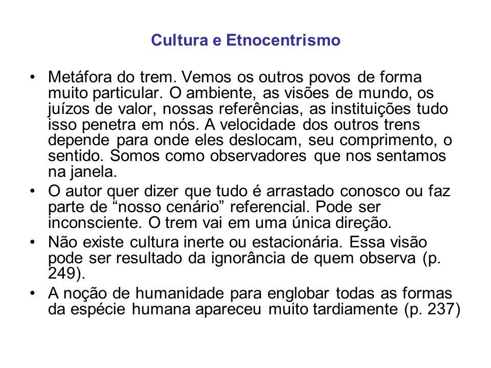 Cultura e Etnocentrismo Metáfora do trem. Vemos os outros povos de forma muito particular. O ambiente, as visões de mundo, os juízos de valor, nossas