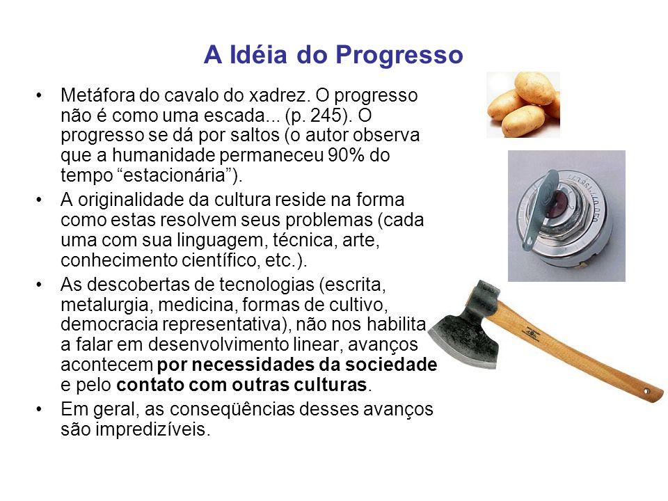 A Idéia do Progresso Metáfora do cavalo do xadrez. O progresso não é como uma escada... (p. 245). O progresso se dá por saltos (o autor observa que a