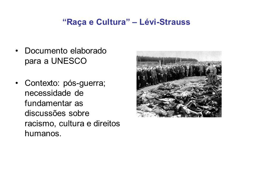 Raça e Cultura – Lévi-Strauss Documento elaborado para a UNESCO Contexto: pós-guerra; necessidade de fundamentar as discussões sobre racismo, cultura e direitos humanos.