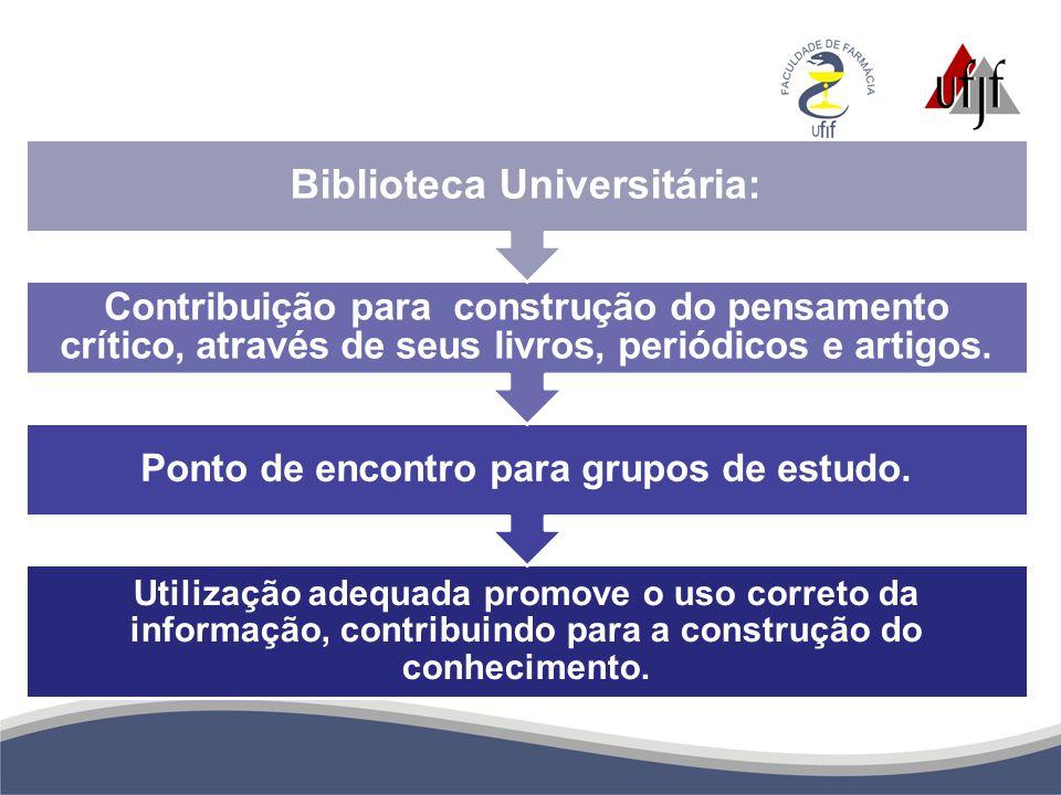 Utilização adequada promove o uso correto da informação, contribuindo para a construção do conhecimento. Ponto de encontro para grupos de estudo. Cont