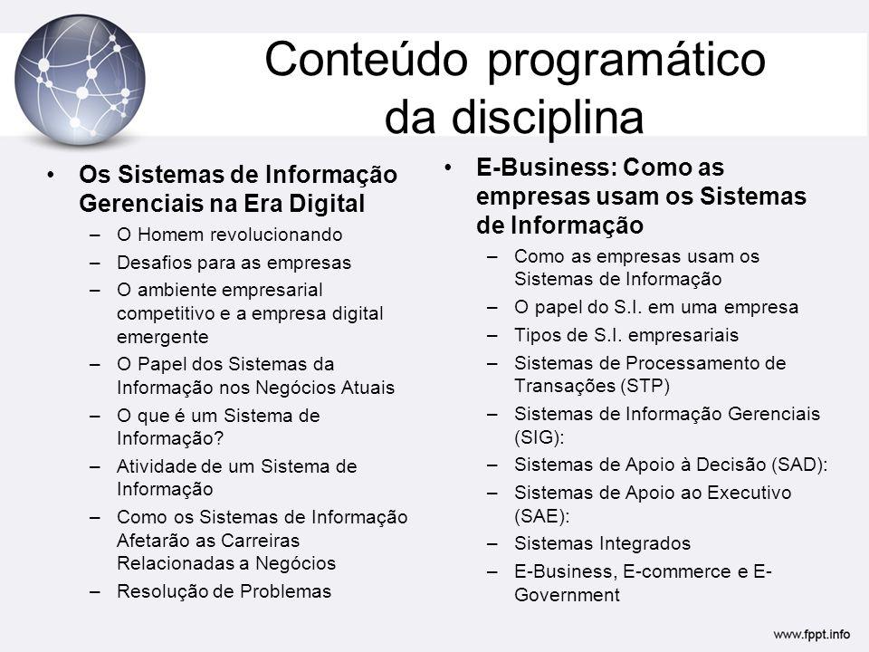 Conteúdo programático da disciplina Conquistando vantagem competitiva com os Sistemas de Informação.