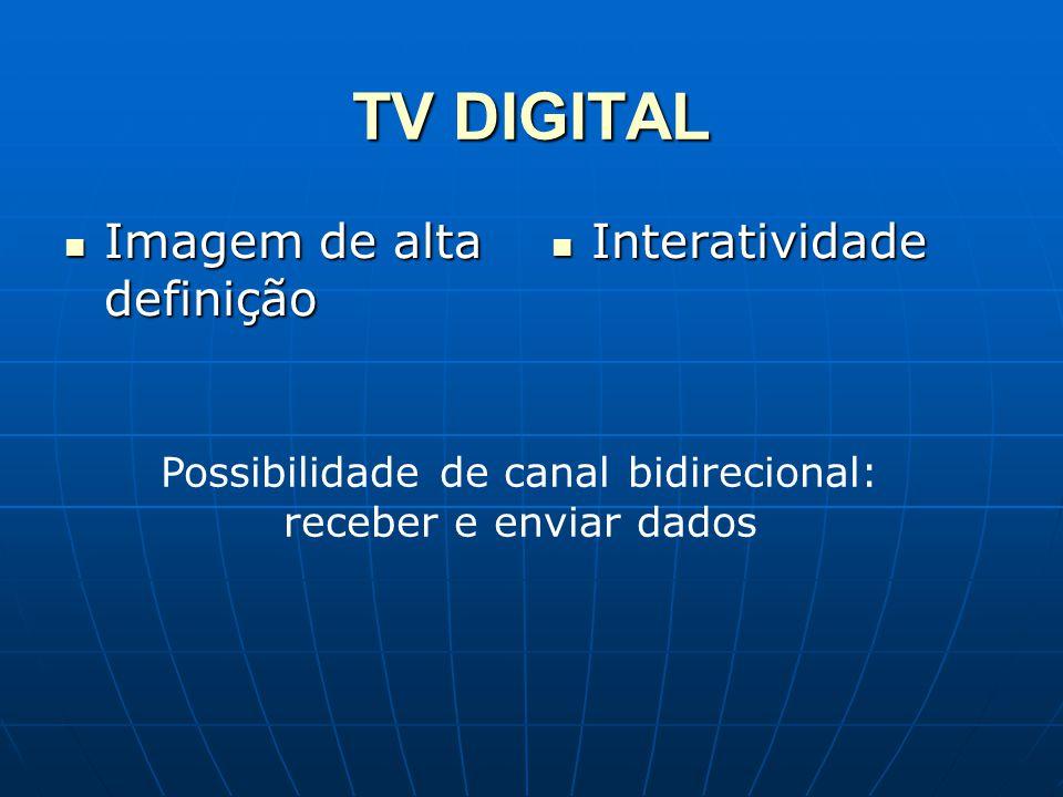 TV DIGITAL Imagem de alta definição Imagem de alta definição Interatividade Interatividade Possibilidade de canal bidirecional: receber e enviar dados
