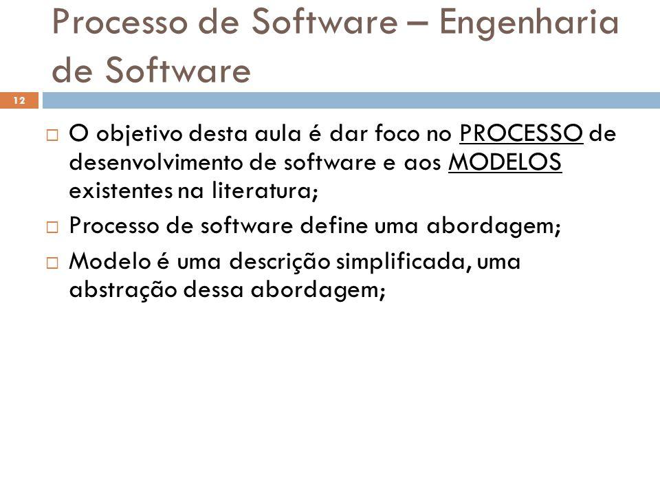 Processo de Software – Engenharia de Software  O objetivo desta aula é dar foco no PROCESSO de desenvolvimento de software e aos MODELOS existentes n