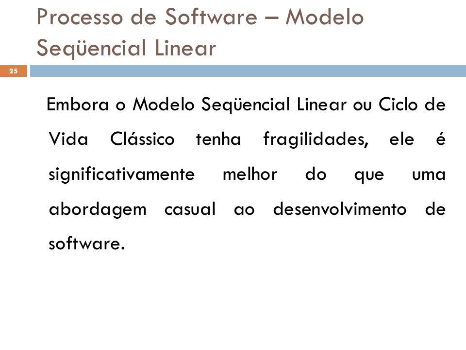 Processo de Software – Modelo Seqüencial Linear Embora o Modelo Seqüencial Linear ou Ciclo de Vida Clássico tenha fragilidades, ele é significativamen