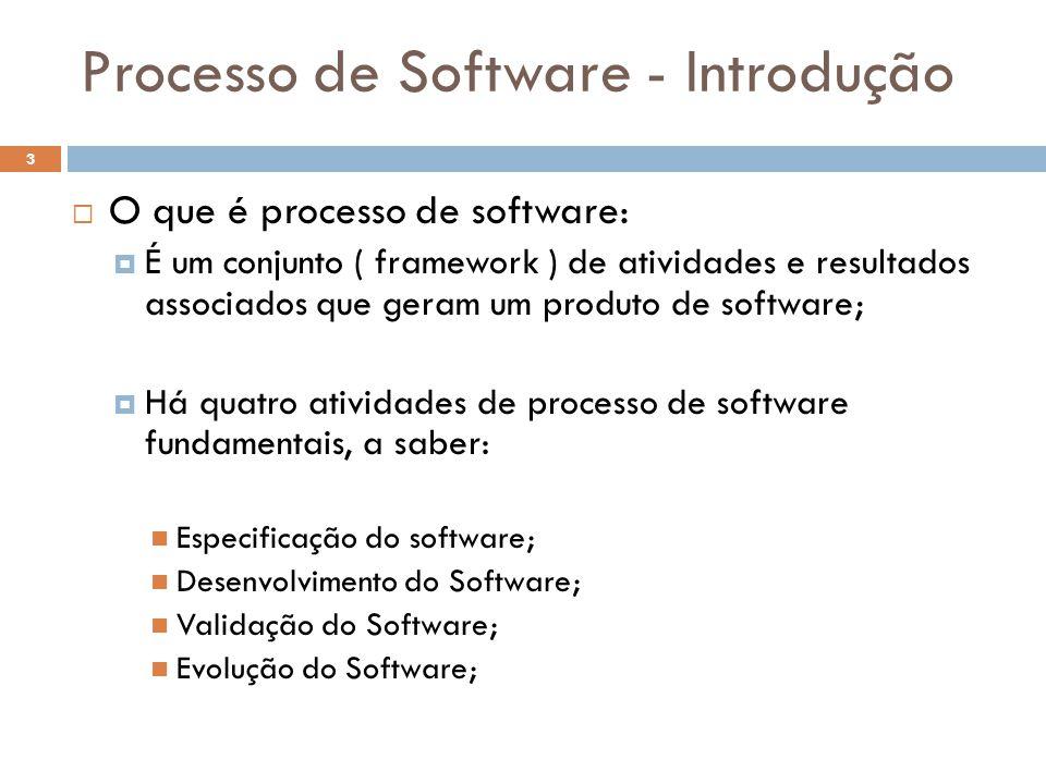 Processo de Software - Introdução  O que é processo de software:  É um conjunto ( framework ) de atividades e resultados associados que geram um pro