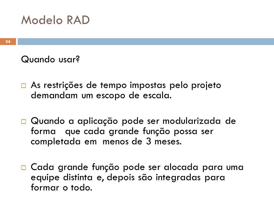 Modelo RAD Quando usar?  As restrições de tempo impostas pelo projeto demandam um escopo de escala.  Quando a aplicação pode ser modularizada de for