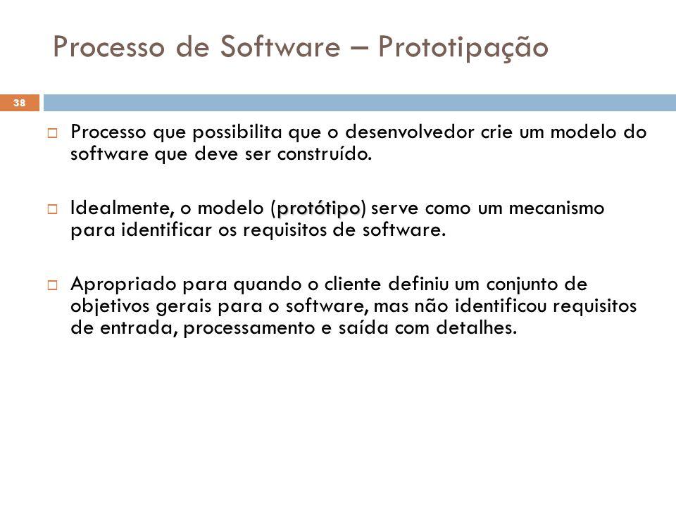 Processo de Software – Prototipação  Processo que possibilita que o desenvolvedor crie um modelo do software que deve ser construído. protótipo  Ide