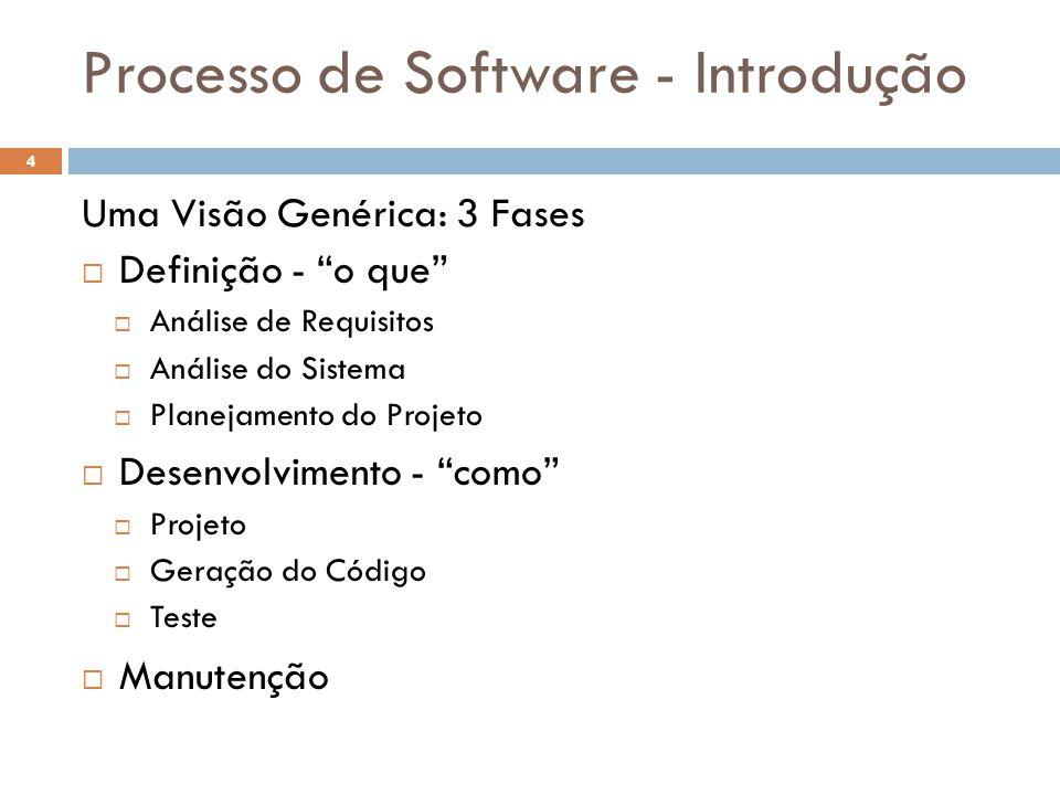 """Processo de Software - Introdução Uma Visão Genérica: 3 Fases  Definição - """"o que""""  Análise de Requisitos  Análise do Sistema  Planejamento do Pro"""