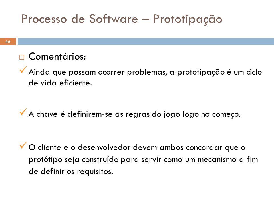 Processo de Software – Prototipação  Comentários: Ainda que possam ocorrer problemas, a prototipação é um ciclo de vida eficiente. A chave é definire