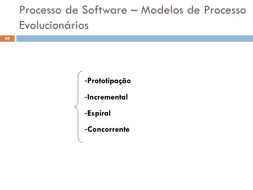 Processo de Software – Modelos de Processo Evolucionários - Prototipação - Incremental - Espiral - Concorrente 49