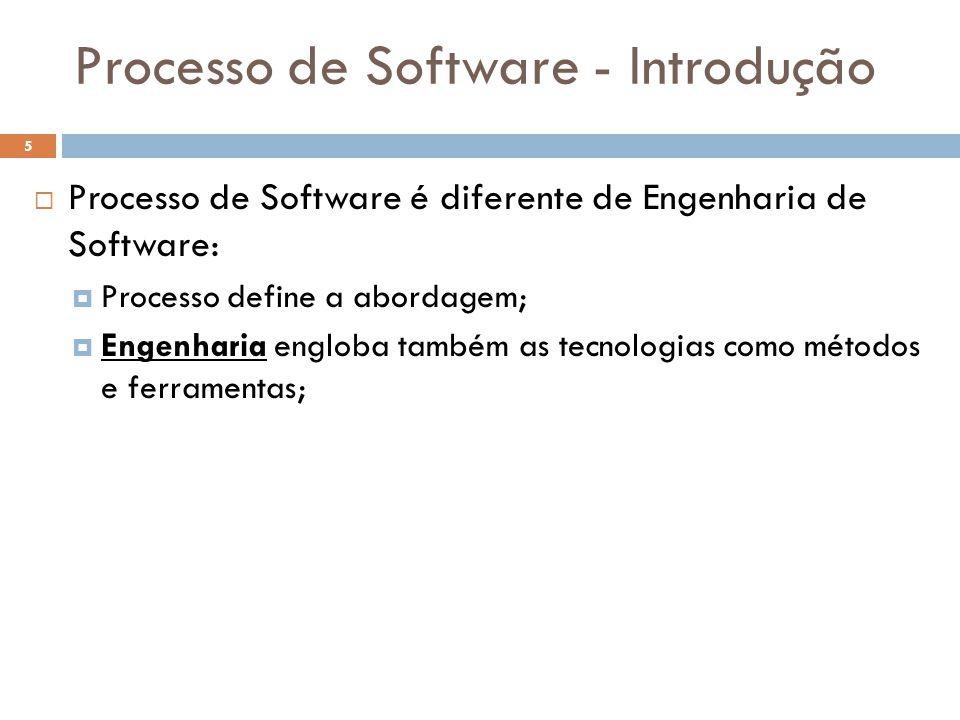 Processo de Software - Introdução  Processo de Software é diferente de Engenharia de Software:  Processo define a abordagem;  Engenharia engloba ta