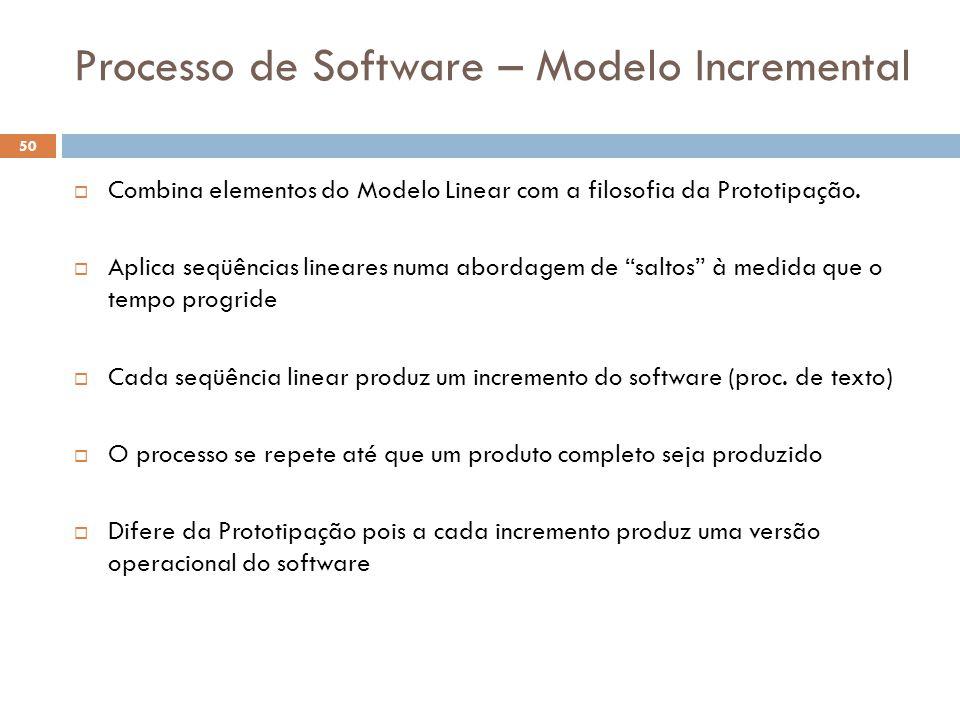 Processo de Software – Modelo Incremental  Combina elementos do Modelo Linear com a filosofia da Prototipação.  Aplica seqüências lineares numa abor