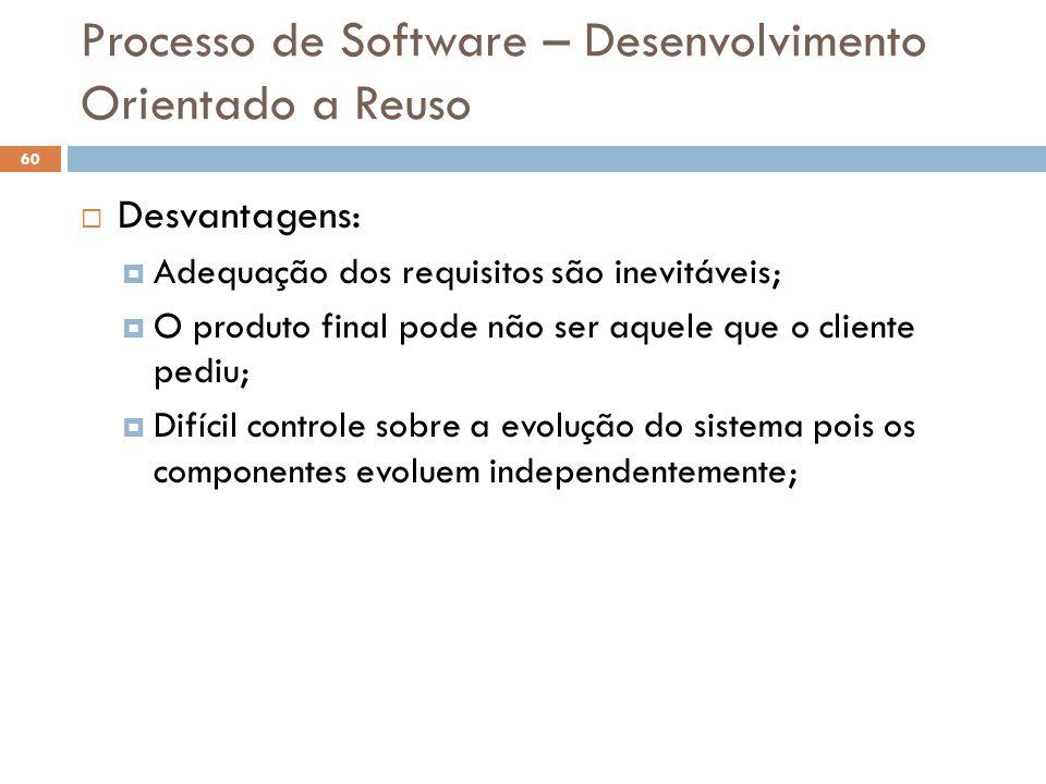 Processo de Software – Desenvolvimento Orientado a Reuso  Desvantagens:  Adequação dos requisitos são inevitáveis;  O produto final pode não ser aq