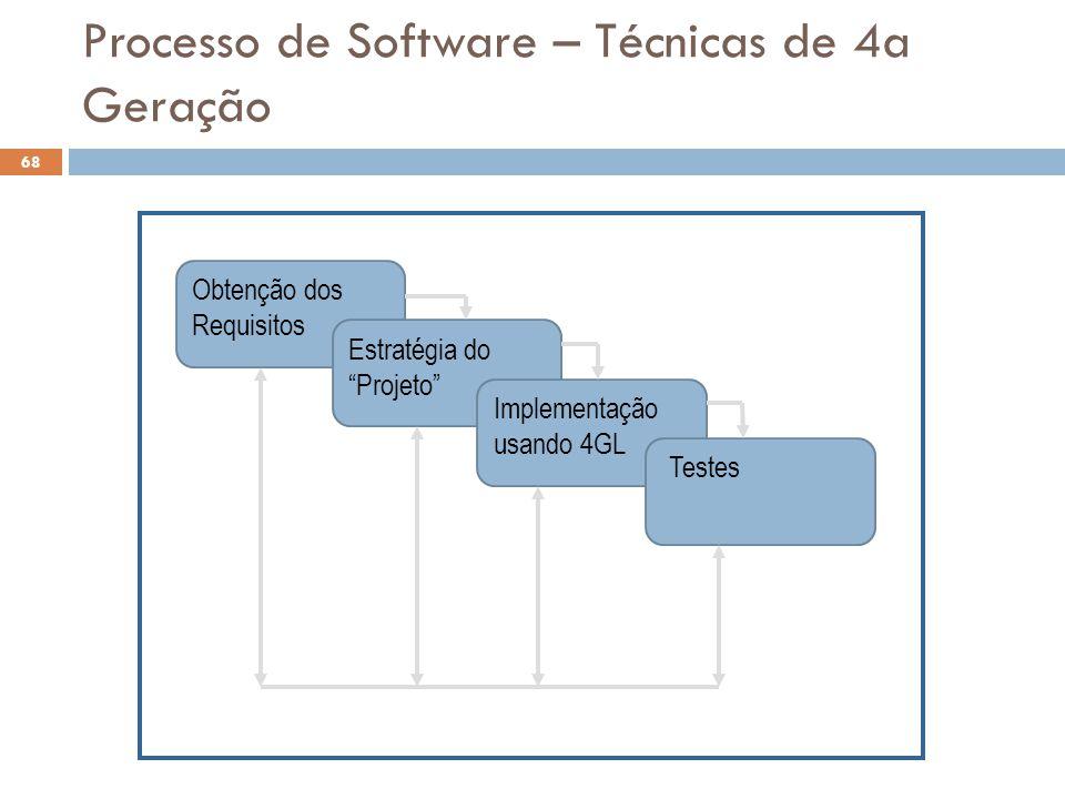 """Obtenção dos Requisitos Estratégia do """"Projeto"""" Implementação usando 4GL Testes Processo de Software – Técnicas de 4a Geração 68"""