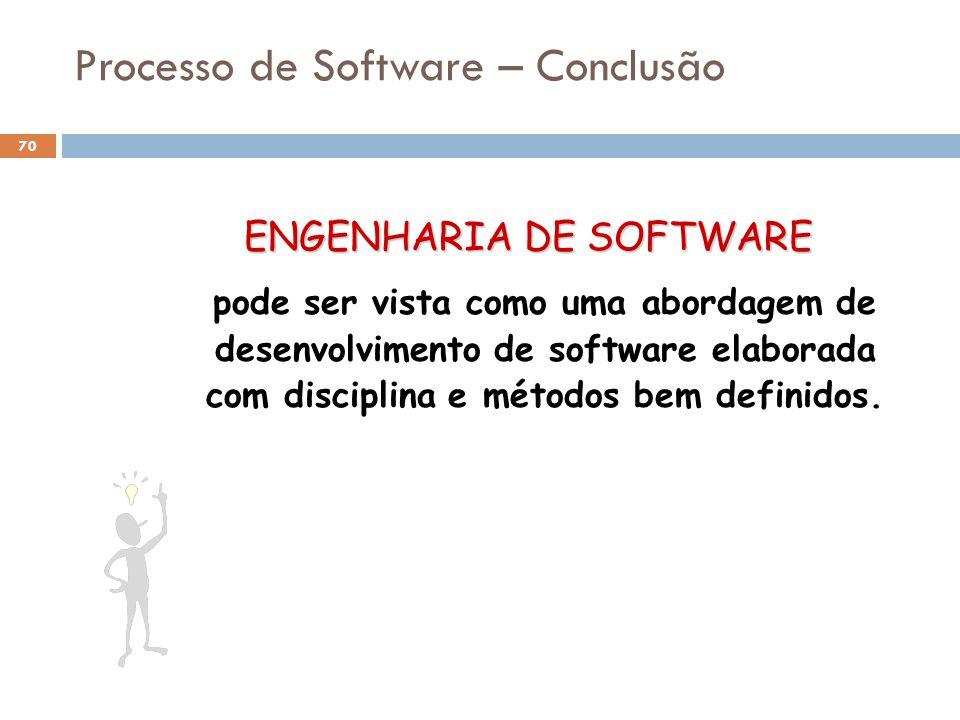Processo de Software – Conclusão ENGENHARIA DE SOFTWARE pode ser vista como uma abordagem de desenvolvimento de software elaborada com disciplina e mé