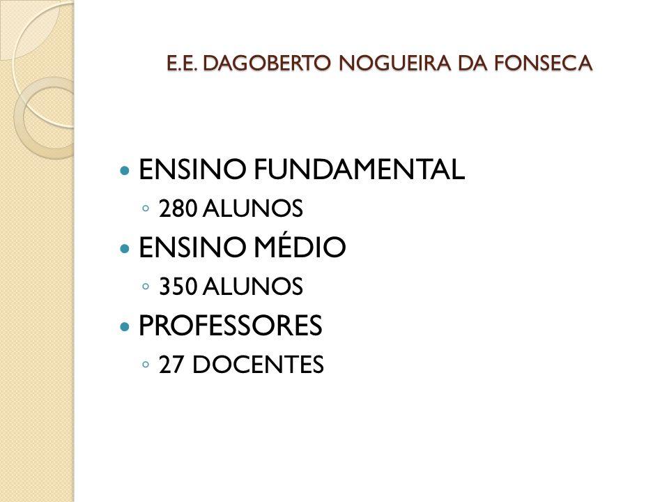 E.E. DAGOBERTO NOGUEIRA DA FONSECA ENSINO FUNDAMENTAL ◦ 280 ALUNOS ENSINO MÉDIO ◦ 350 ALUNOS PROFESSORES ◦ 27 DOCENTES
