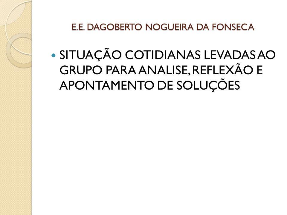 E.E. DAGOBERTO NOGUEIRA DA FONSECA SITUAÇÃO COTIDIANAS LEVADAS AO GRUPO PARA ANALISE, REFLEXÃO E APONTAMENTO DE SOLUÇÕES