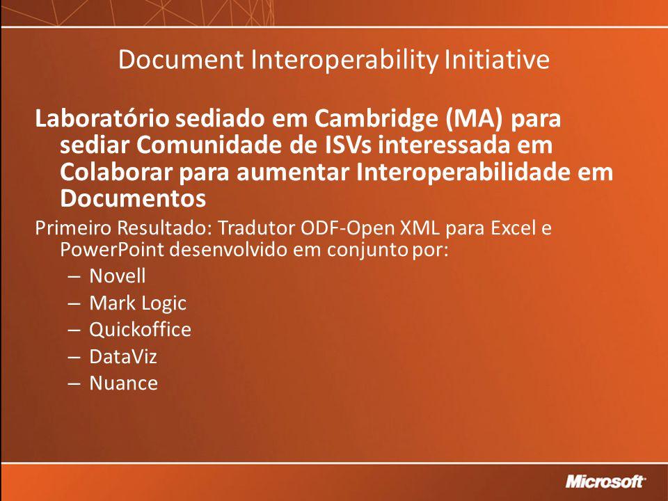 Document Interoperability Initiative Laboratório sediado em Cambridge (MA) para sediar Comunidade de ISVs interessada em Colaborar para aumentar Interoperabilidade em Documentos Primeiro Resultado: Tradutor ODF-Open XML para Excel e PowerPoint desenvolvido em conjunto por: – Novell – Mark Logic – Quickoffice – DataViz – Nuance