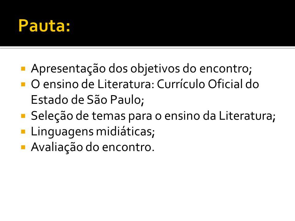  Apresentação dos objetivos do encontro;  O ensino de Literatura: Currícul0 Oficial do Estado de São Paulo;  Seleção de temas para o ensino da Lite
