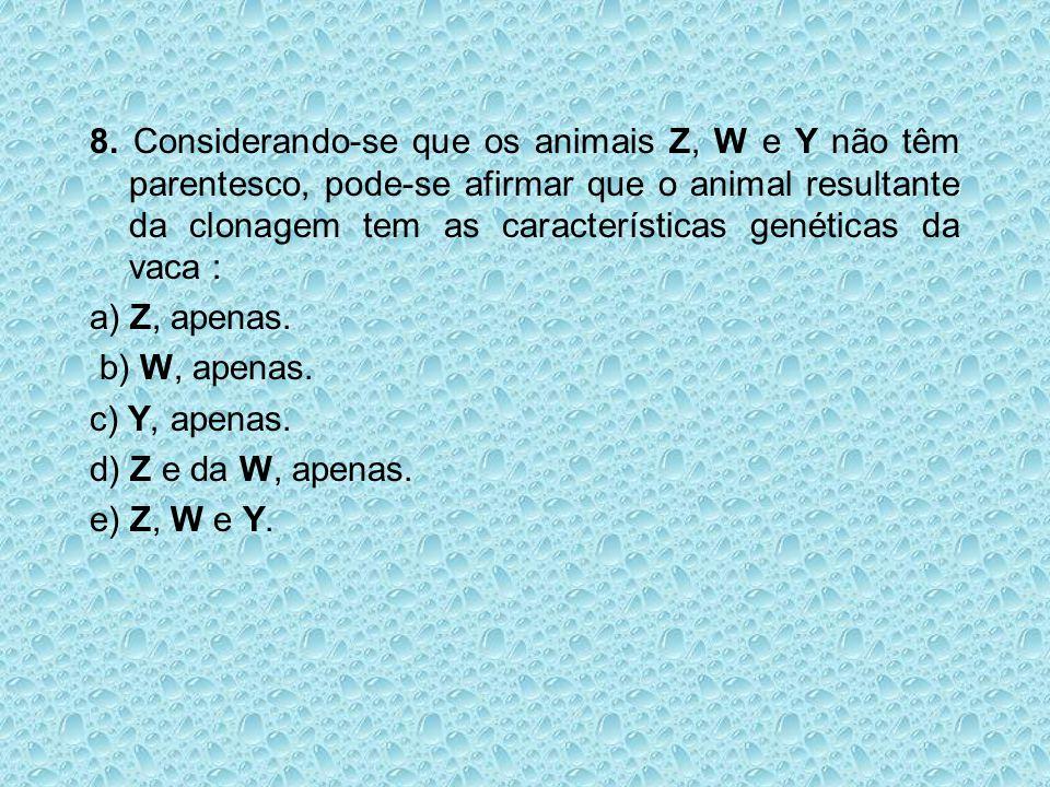 8. Considerando-se que os animais Z, W e Y não têm parentesco, pode-se afirmar que o animal resultante da clonagem tem as características genéticas da
