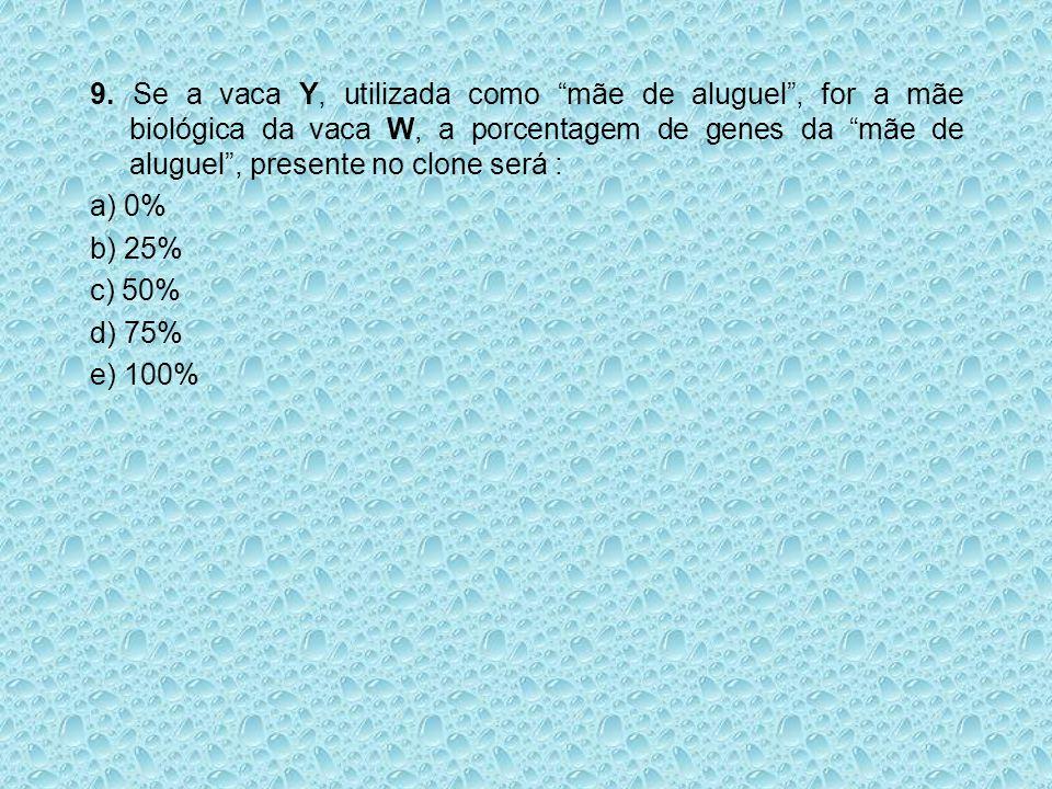 """9. Se a vaca Y, utilizada como """"mãe de aluguel"""", for a mãe biológica da vaca W, a porcentagem de genes da """"mãe de aluguel"""", presente no clone será : a"""