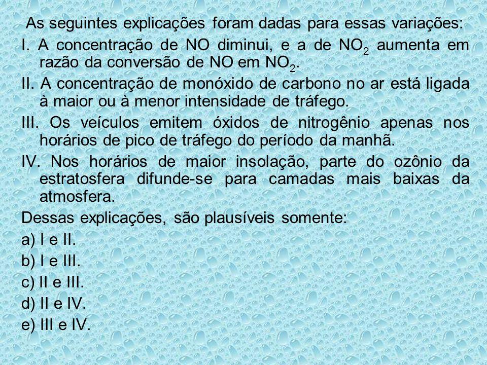 As seguintes explicações foram dadas para essas variações: I. A concentração de NO diminui, e a de NO 2 aumenta em razão da conversão de NO em NO 2. I
