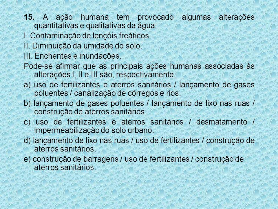 15. A ação humana tem provocado algumas alterações quantitativas e qualitativas da água: I. Contaminação de lençóis freáticos. II. Diminuição da umida