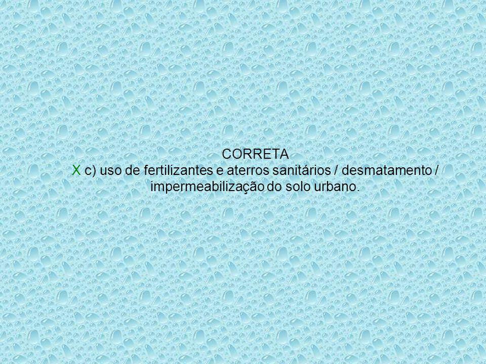 CORRETA X c) uso de fertilizantes e aterros sanitários / desmatamento / impermeabilização do solo urbano.
