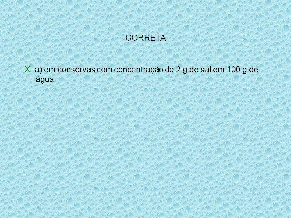 CORRETA X a) em conservas com concentração de 2 g de sal em 100 g de água.
