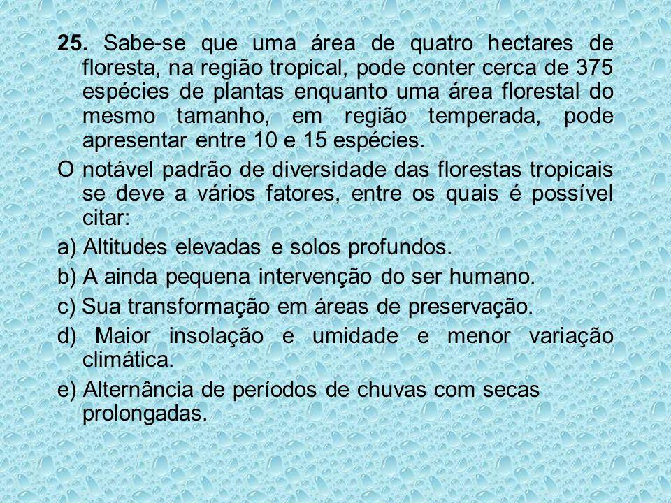 25. Sabe-se que uma área de quatro hectares de floresta, na região tropical, pode conter cerca de 375 espécies de plantas enquanto uma área florestal