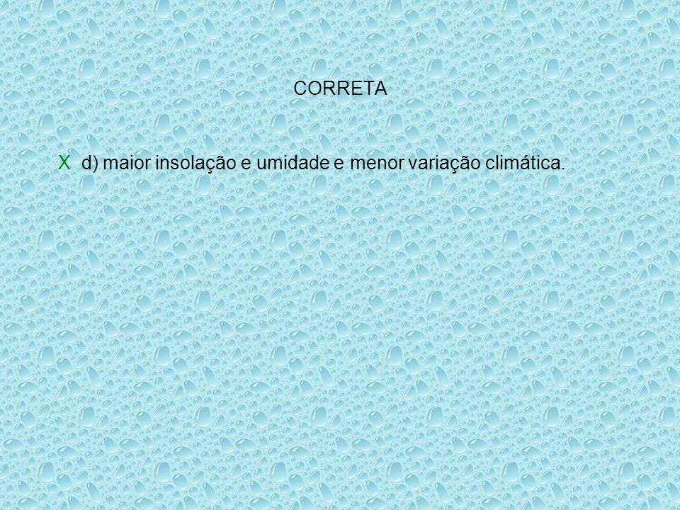 CORRETA X d) maior insolação e umidade e menor variação climática.