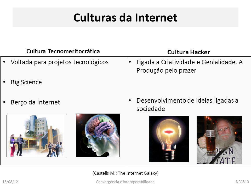 Convergência e InteroperabilidadeNPA81018/08/12 Culturas da Internet Cultura Tecnomeritocrática Cultura Hacker Voltada para projetos tecnológicos Big