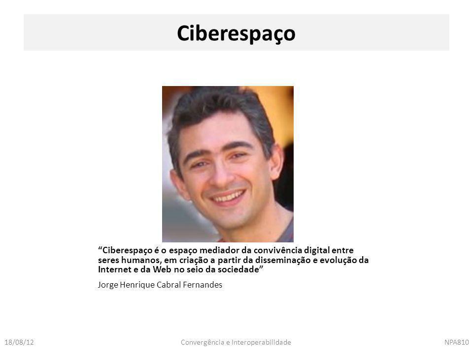 """Convergência e InteroperabilidadeNPA81018/08/12 Jorge Henrique Cabral Fernandes Ciberespaço """"Ciberespaço é o espaço mediador da convivência digital en"""