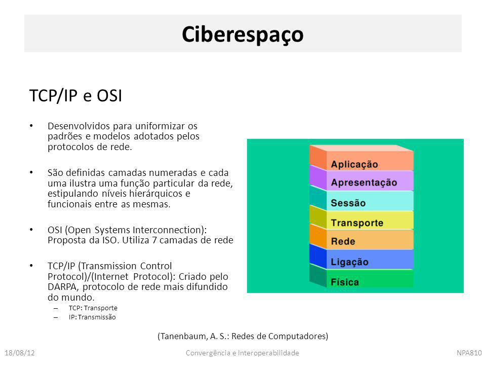 Convergência e InteroperabilidadeNPA81018/08/12 TCP/IP e OSI Desenvolvidos para uniformizar os padrões e modelos adotados pelos protocolos de rede. Sã