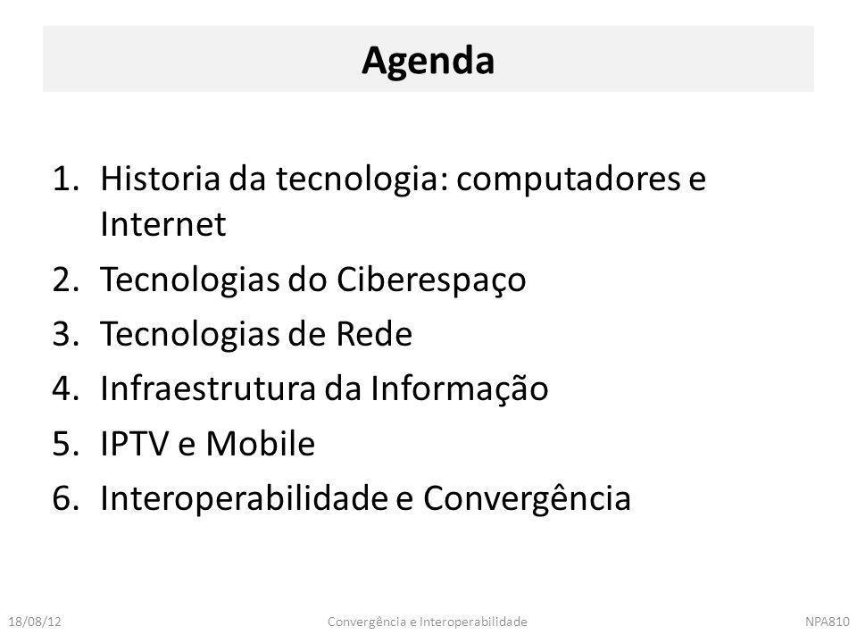 Convergência e InteroperabilidadeNPA81018/08/12 1.Historia da tecnologia: computadores e Internet 2.Tecnologias do Ciberespaço 3.Tecnologias de Rede 4