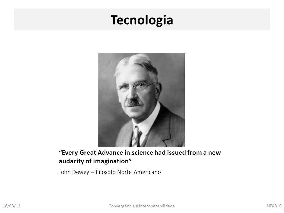"Convergência e InteroperabilidadeNPA81018/08/12 John Dewey – Filosofo Norte Americano Tecnologia ""Every Great Advance in science had issued from a new"