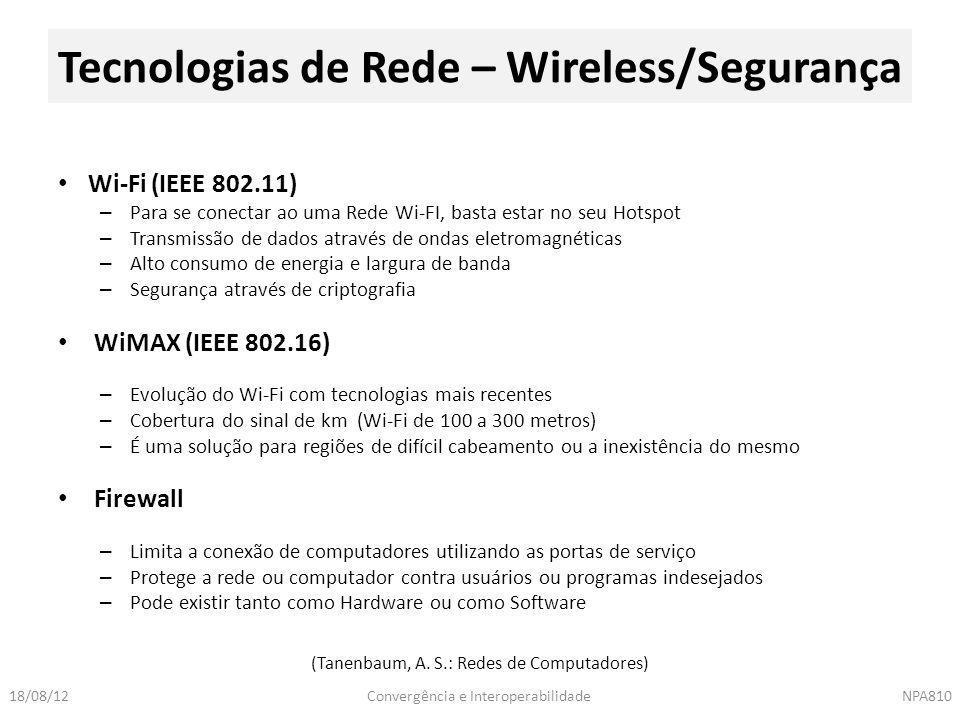 Convergência e InteroperabilidadeNPA81018/08/12 Wi-Fi (IEEE 802.11) – Para se conectar ao uma Rede Wi-FI, basta estar no seu Hotspot – Transmissão de