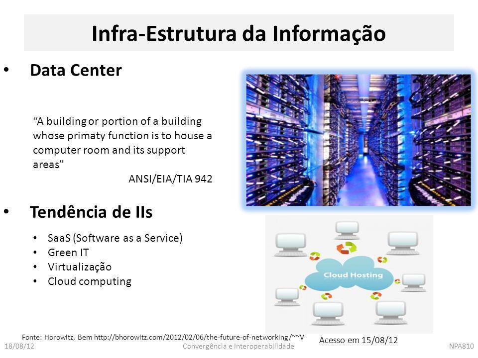 """Convergência e InteroperabilidadeNPA81018/08/12 Infra-Estrutura da Informação Data Center """"A building or portion of a building whose primaty function"""