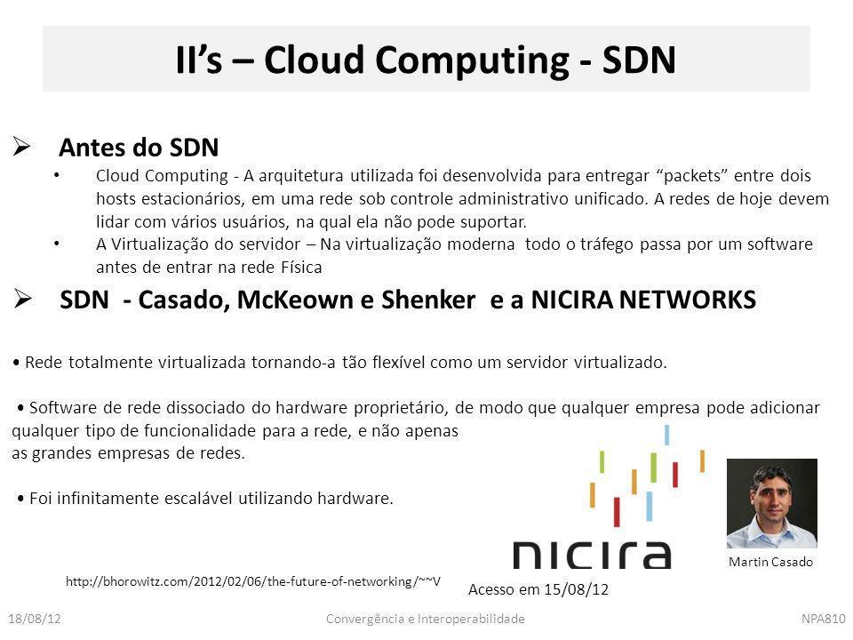 Convergência e InteroperabilidadeNPA81018/08/12 II's – Cloud Computing - SDN  Antes do SDN Cloud Computing - A arquitetura utilizada foi desenvolvida