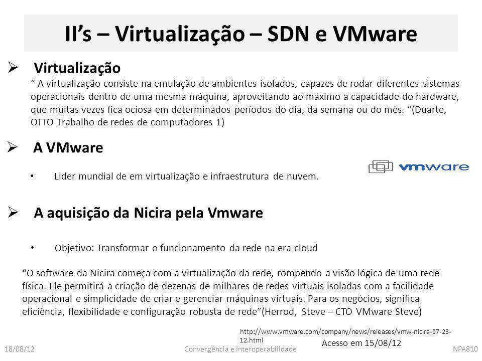 Convergência e InteroperabilidadeNPA81018/08/12 II's – Virtualização – SDN e VMware  A VMware Lider mundial de em virtualização e infraestrutura de n